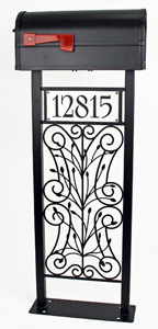 Scrolls and Stems Mailbox Stand by Trellis Art Designs