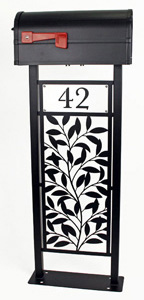 Leafy Branch Mailbox Stand by Trellis Art Designs