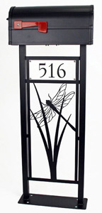 Dragonfly Mailbox Stand by Trellis Art Designs