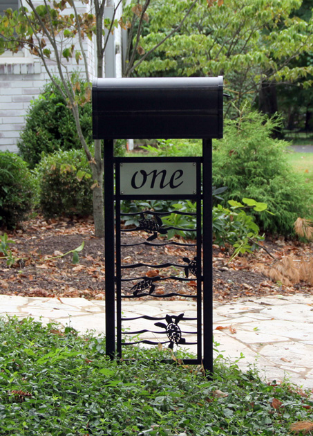 Mailbox Stand Designs : Sea turtle mailbox stand trellis art designs