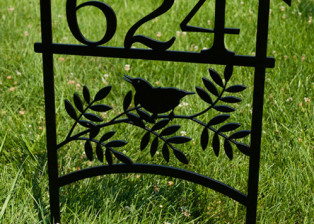 Bird on Branch Address Stake, Trellis Art Designs