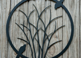 Shrub with Circling Birds by Trellis Art Designs