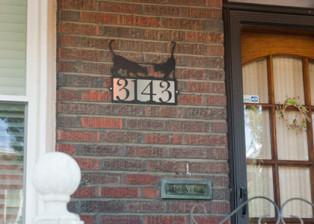 Cat with Mouse Address Plaque, Trellis Art Designs