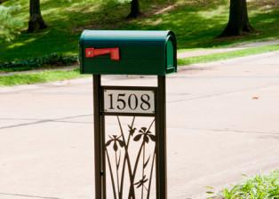 Iris Mailbox Stand by Trellis Art Designs