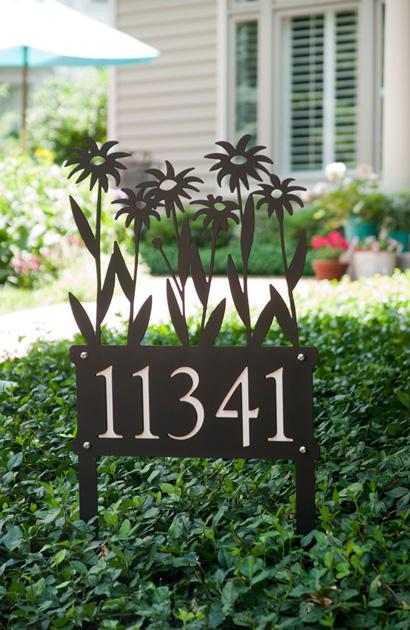 Rudbeckia in Planter Address Stake, Trellis Art Designs