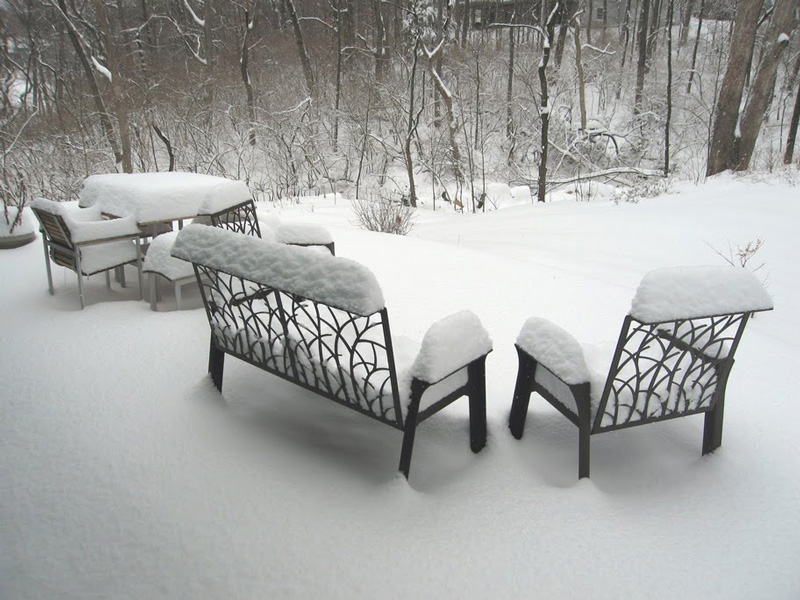 Furniture in Snow by Trellis Art Designs