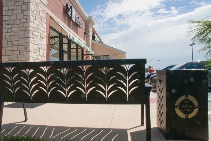 Bench and Waste Receptacle Town & Country Crossing by Trellis Art Designs