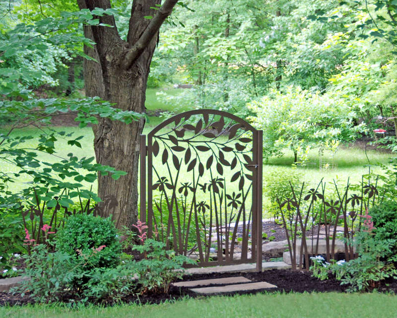 Leafy Branch over Iris Garden Gate by Trellis Art Designs