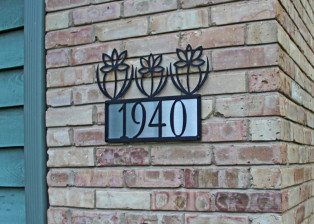 Triple Flower Address Plaque, Trellis Art Designs