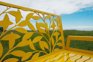 Leafy Bench Sunshine Yellow by Trellis Art Designs